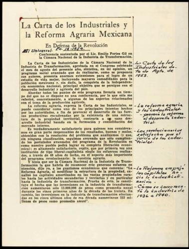 La carta de los industriales y la Reforma Agraria Mexicana: En defesa de la Revolución.