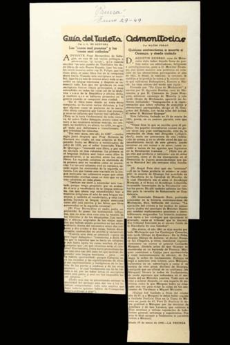Artículos referentes a la obra de fray Bernardino de Sahagún y el asesinato de Melchor Ocampo