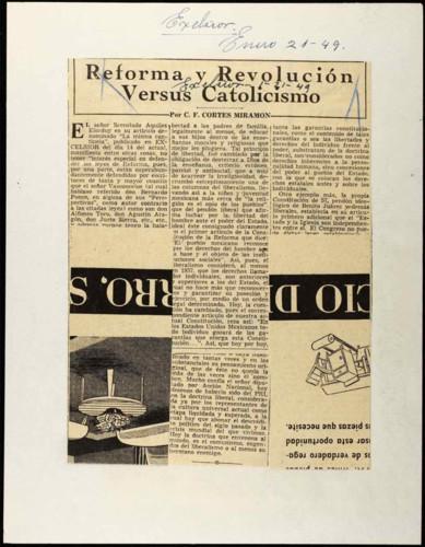 Reforma y Revolución Versus Catolicismo.