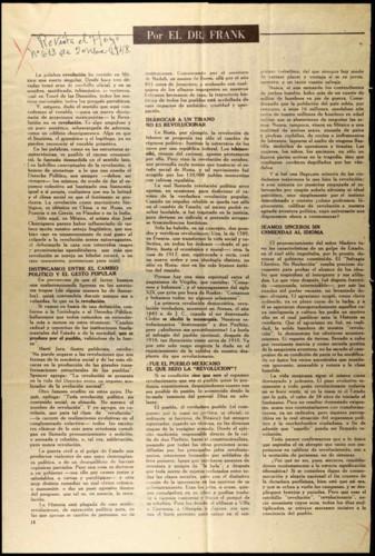 Artículo referente a la revolución en México