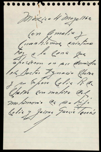 Transcripciones de las memorias del general Lázaro Cárdenas: 1960 del 27 de febrero al 25 de junio. Agradecimiento de Amalia Solórzano
