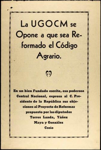 Vida personal del general Lázaro Cárdenas: Publicaciones periódicas sobre Reformas al Código Agrario
