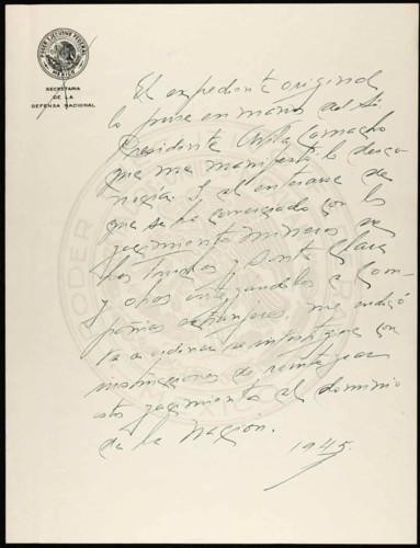 Vida laboral del general Lázaro Cárdenas: El expediente original lo puso en manos del presidente Ávila Camacho. Copias simples. Título número 102559.
