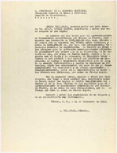 Vida laboral del general Lázaro Cárdenas: Carta de Andrés Villafaña al Secretario de la Economía Nacional, Dirección general de Minas y Petróleo