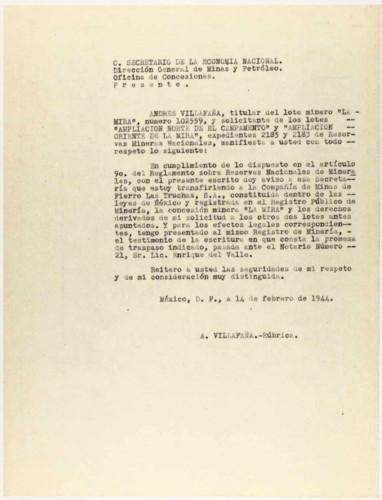 Vida laboral del general Lázaro Cárdenas: Carta de Andrés Villafaña al Secretario de la Economía Nacional, Dirección general de Minas y Petróleo, Sección de concesiones