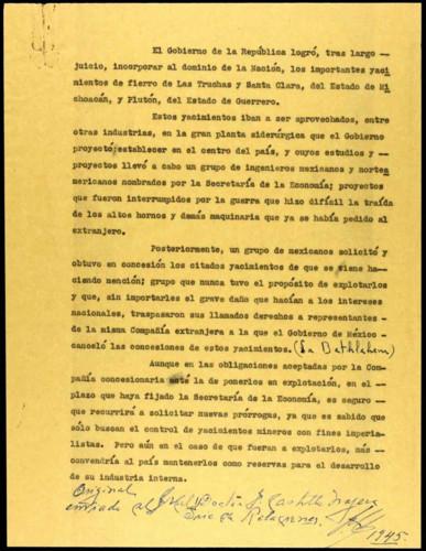 Vida laboral del general Lázaro Cárdenas: Escrito sobre los yacimientos de fierro de Las Truchas y Santa Clara