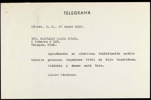 Vida personal del general Lázaro Cárdenas: Felicitación de por examen profesional de Cuauhtémoc Cárdenas S. III