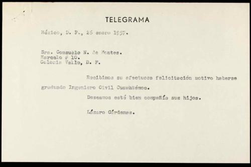 Vida personal del general Lázaro Cárdenas: Felicitación de por examen profesional de Cuauhtémoc Cárdenas S. V