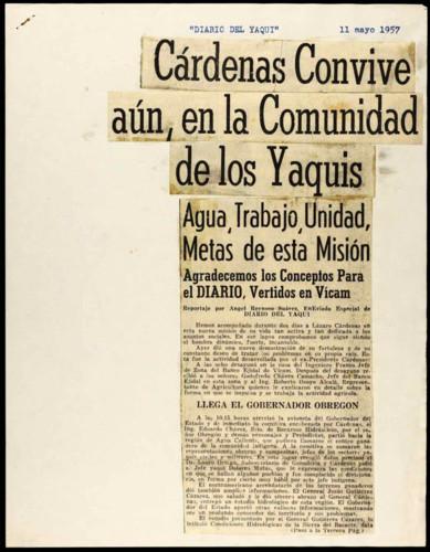 Cárdenas convive aún, en la comunidad de los Yaquis.