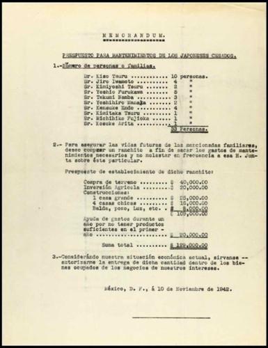 Vida laboral del general Lázaro Cárdenas: Memorándum del presupuesto para mantenimiento de japoneses cesados