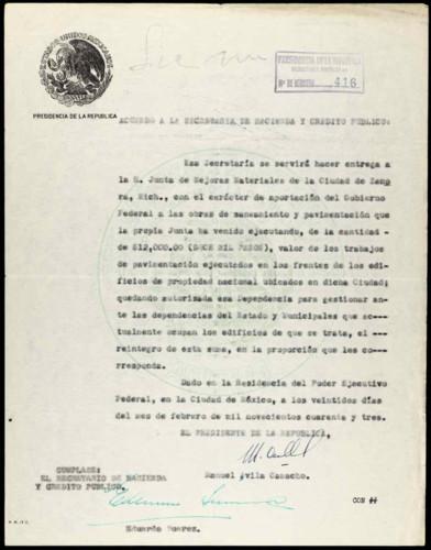 Vida laboral del general Lázaro Cárdenas: Acuerdo para la mejora material de la ciudad de Zamora