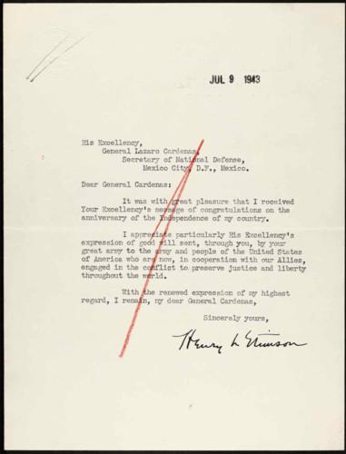 Vida laboral del general Lázaro Cárdenas: Acuse de recibo por el Aniversario de la Independencia de los Estados Unidos