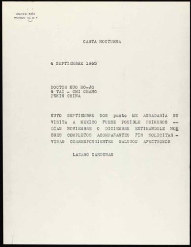 Vida personal del general Lázaro Cárdenas: Visita de Kuo Mo-Jo a México
