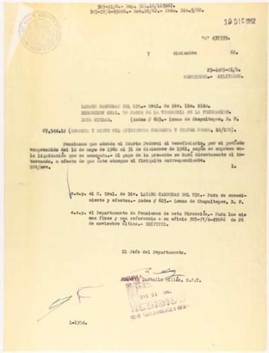 Vida personal del general Lázaro Cárdenas: Pensión adeudada por el Erario Federal