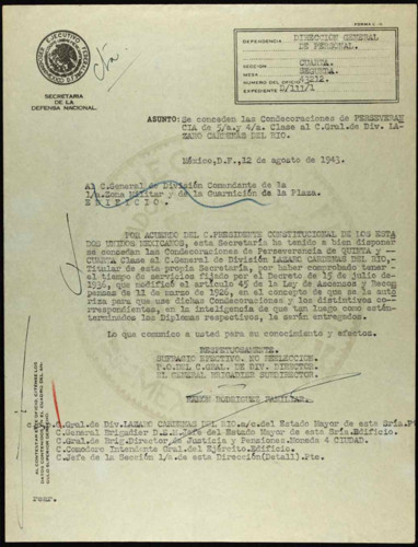 Vida personal del general Lázaro Cárdenas: Concesión de las Condecoraciones de Perseverancia