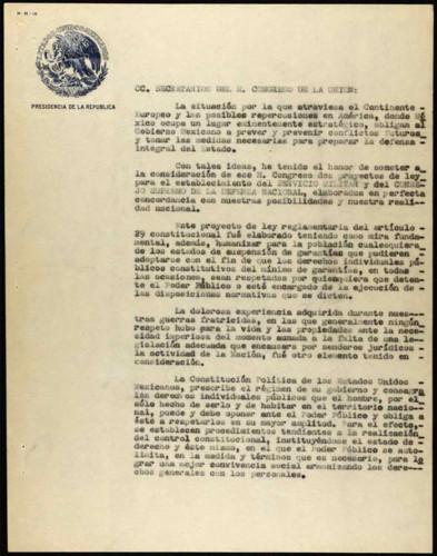 Vida personal del general Lázaro Cárdenas: Proyecto de Ley Reglamentaria del art. 29 Constitucional