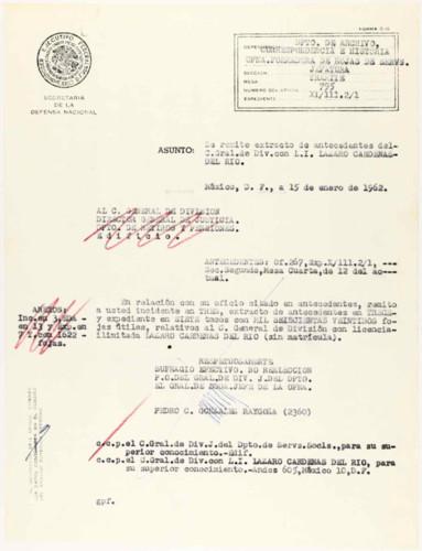Vida personal del general Lázaro Cárdenas: Entrega de hoja de servicios