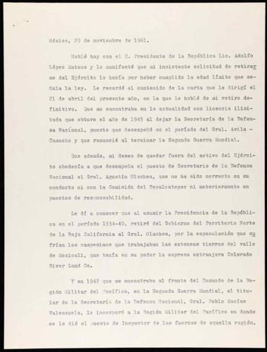 Vida personal del general Lázaro Cárdenas: Notas referentes a su retiro militar