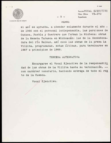 Vida laboral del general Lázaro Cárdenas: Programa de actividades Comisión del Río Balsas para 1966