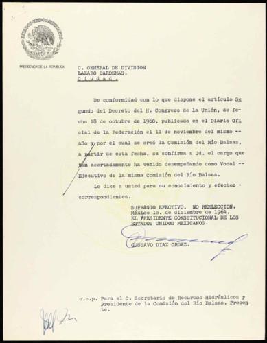 Vida laboral del general Lázaro Cárdenas: Carta de Gustavo Díaz Ordaz para confirmarle que Lázaro Cárdenas, general de División, continuará con el cargo de Vocal Ejecutivo de la comisión del río Balsas