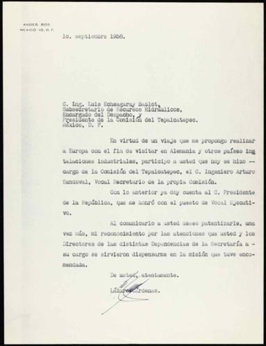 Vida laboral del general Lázaro Cárdenas: Carta de Lázaro Cárdenas al ingeniero Luis Echegaray Bablot, subsecretario de Recursos Hidráulicos y presidente de la Comisión del Tepalcatepec