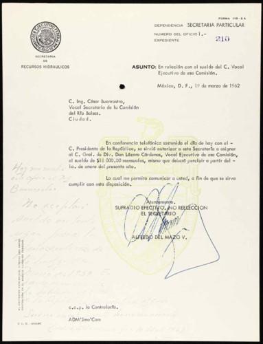 Vida laboral del general Lázaro Cárdenas: Decreto que creó el organismo denominado Comisión del Rio Balsas, donde se le asignó como vocal ejecutivo de dicha Institución