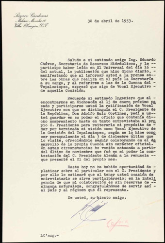 Vida laboral del general Lázaro Cárdenas: Carta de Adolfo Ruíz Cortines, presidente Constitucional de los Estados Unidos Mexicanos al general de división Lázaro Cárdenas para nombrarlo Vocal Ejecutivo de la Comisión del Tepalcatepec