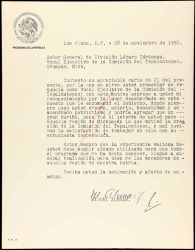 Vida laboral del general Lázaro Cárdenas: Carta de Miguel Alemán al general de división Lázaro Cárdenas, vocal ejecutivo de la Comisión del Tepalcatepec