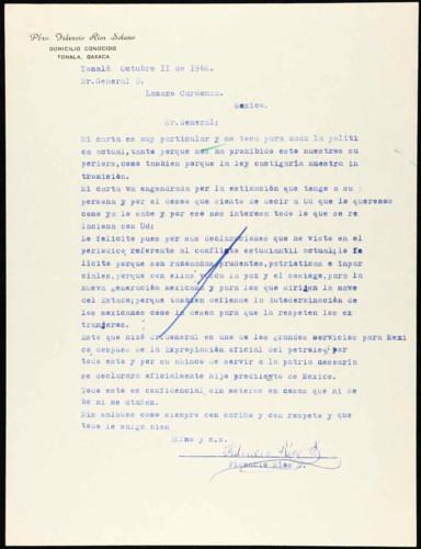 Vida personal del general Lázaro Cárdenas: Declaraciones referentes al movimiento estudiantil