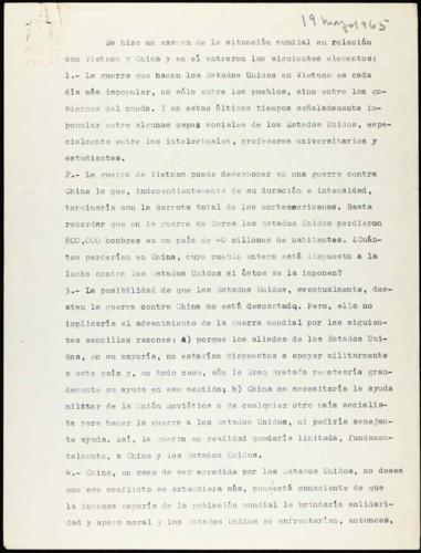 Vida laboral del general Lázaro Cárdenas: Comentarios sobre la guerra de Estados Unidos con Vietnam