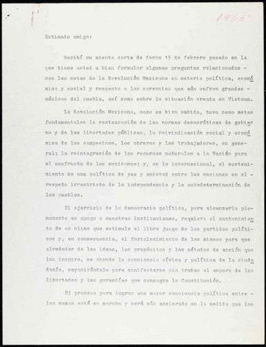 Vida laboral del general Lázaro Cárdenas: Reflexión de las metas de la Revolución Mexicana y la situación en Vietnam, 1965