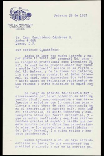 Vida personal del ingeniero Cuauhtémoc Cárdenas Solórzano: Felicitaciones por su examen profesional. XIII