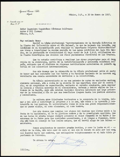 Vida personal del ingeniero Cuauhtémoc Cárdenas Solórzano: Felicitaciones por su examen profesional. XV