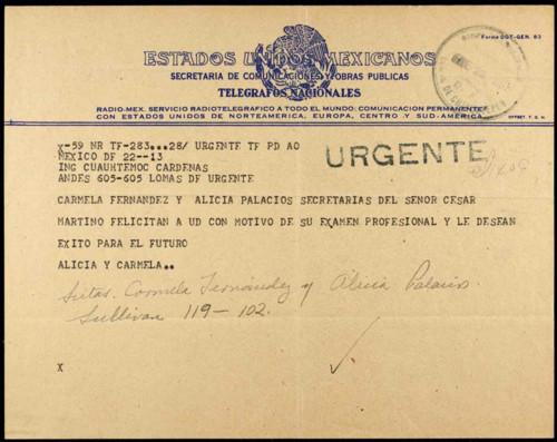 Vida personal del ingeniero Cuauhtémoc Cárdenas Solórzano: Felicitaciones por su examen profesional. XXIII