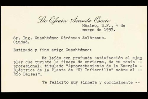 Vida personal del ingeniero Cuauhtémoc Cárdenas Solórzano: Felicitaciones por su examen profesional. XXXVI