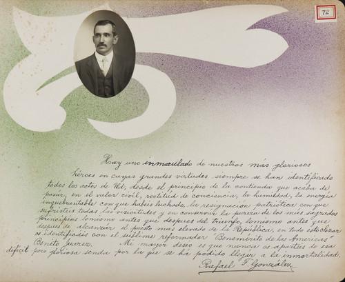 Lámina de Rafael F. González para Francisco I. Madero (atribuido)