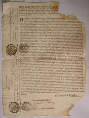 Bando de la cédula real del 5 de abril de 1764 sobre que los justicias seculares pueden y deben perseguir reos en cualquier parte y extraerlos de los lugares sagrados en donde se hayan refugiado, asegurándolos en las reales cárceles, sin que puedan ser am