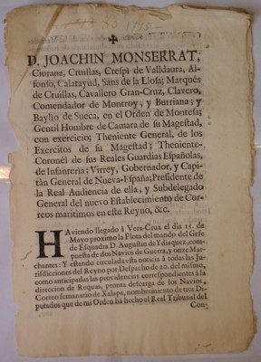 Diversos mandatos, virrey Joaquín Monserrat, México