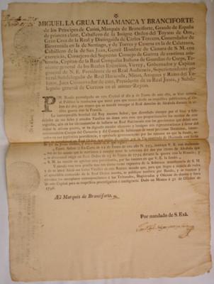 Bando de orden que manda cesar el cobro del dos por ciento de alcabala impuesto por cédula real del 23 de enero de 1794, virrey Miguel de la Grúa Talamanca y Branciforte, México