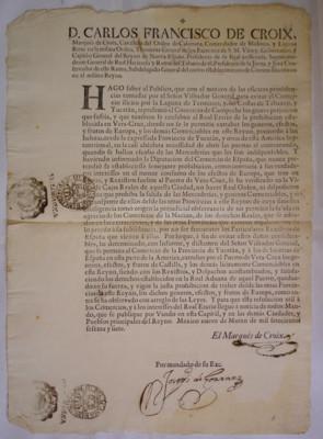 Diversos mandatos del virrey Carlos Francisco de Croix