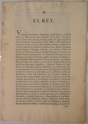 Dos cédulas reales: una, emitida en 1793 que nombra a Manuel Godoy y Álvarez de Faría como superintendente general de correos de mar y tierra, postas y estafetas, de España y las Indias, y de los caminos generales y transversales. Otra, expedida en 1795,