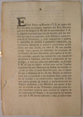 Decreto real que solicita donativos para la defensa y conservación de la monarquía, Aranjuez
