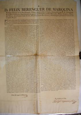 Bando de cédula real sobre declaración de guerra a Portugal, prohibiendo todo comercio, trato y comunicación con sus dominios y súbditos, virrey Félix Berenguer de Marquina, México