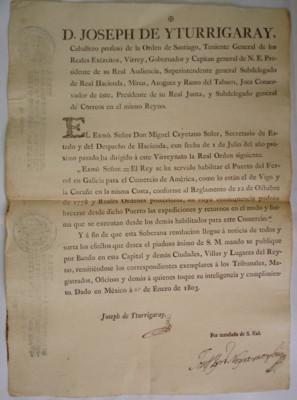 Bandos de cédulas, resoluciones, órdenes y decretos reales, virrey José de Iturrigaray