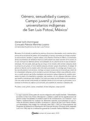 Género, sexualidad y cuerpo. Campo juvenil y jóvenes universitarios indígenas de San Luis Potosí, México
