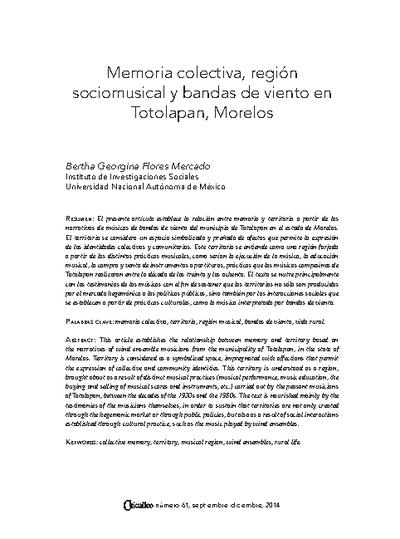 Memoria colectiva, región sociomusical y bandas de viento en Totolapan, Morelos