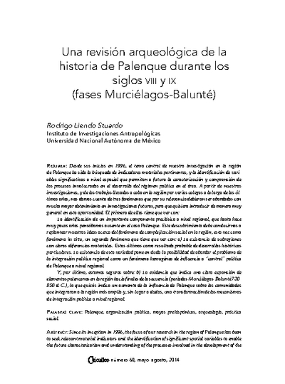 Una revisión arqueológica de la historia de Palenque durante los siglos VIII y IX (fases Murciélagos-Balunté)