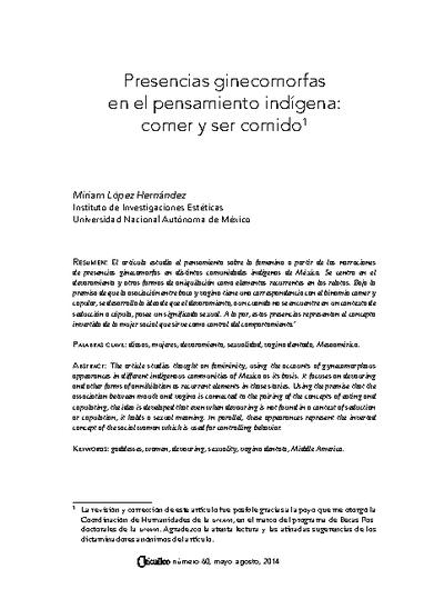 Presencias ginecomorfas en el pensamiento indígena: comer y ser comido
