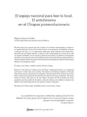 El espejo nacional para leer lo local. El antichinismo en el Chiapas posrevolucionario