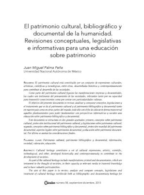 El patrimonio cultural, bibliográfico y documental de la humanidad. Revisiones conceptuales, legislativas e informativas para una educación sobre patrimonio